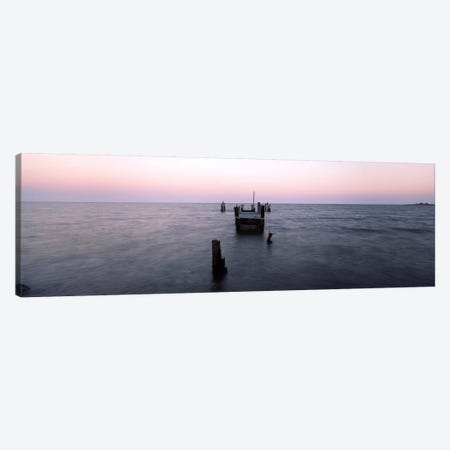 Pier in the Atlantic Ocean, Dilapidated Pier, North Point State Park, Edgemere, Baltimore County, Maryland, USA Canvas Print #PIM9358} by Panoramic Images Canvas Artwork