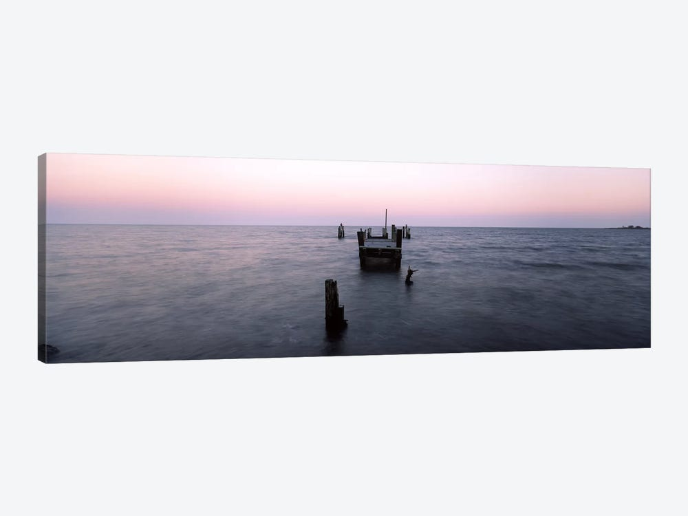Pier in the Atlantic Ocean, Dilapidated Pier, North Point State Park, Edgemere, Baltimore County, Maryland, USA 1-piece Canvas Wall Art