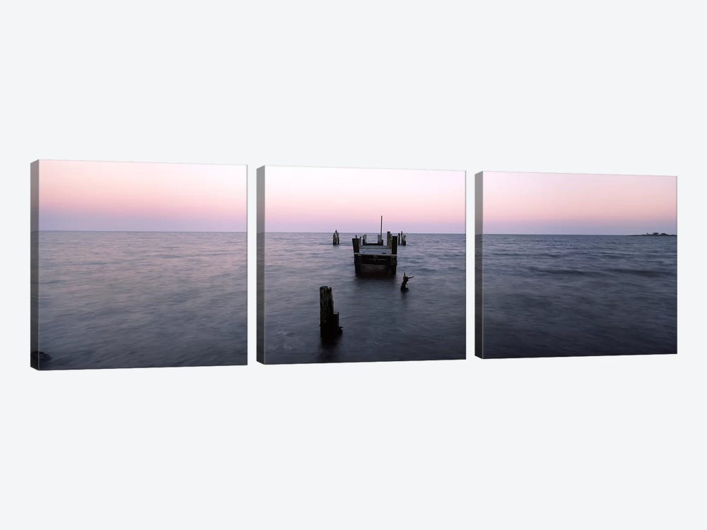 Pier in the Atlantic Ocean, Dilapidated Pier, North Point State Park, Edgemere, Baltimore County, Maryland, USA 3-piece Canvas Art