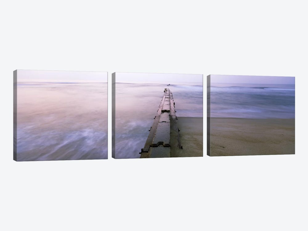 Tide break on the beach at sunrise, Cape Hatteras National Seashore, North Carolina, USA 3-piece Art Print