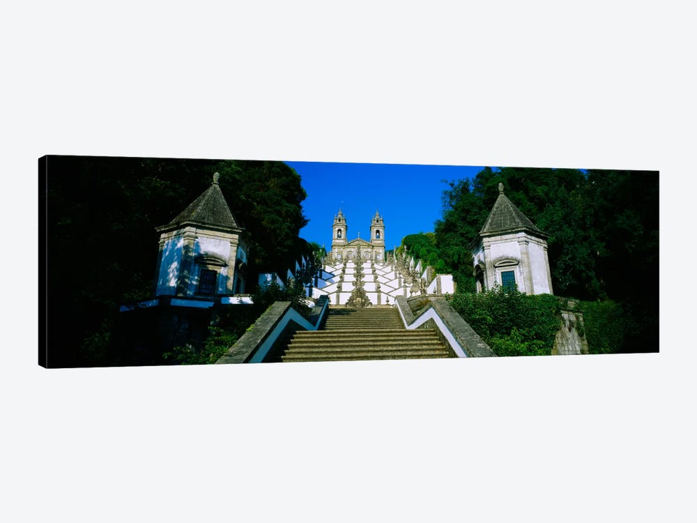 Low angle view of a cathedralSteps of the Five Senses, Bom Jesus Do Monte, Braga, Portugal by Panoramic Images 1-piece Canvas Art