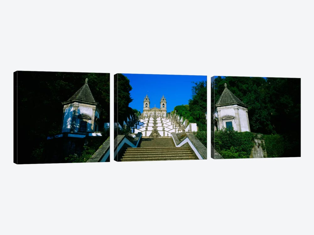 Low angle view of a cathedralSteps of the Five Senses, Bom Jesus Do Monte, Braga, Portugal by Panoramic Images 3-piece Canvas Artwork