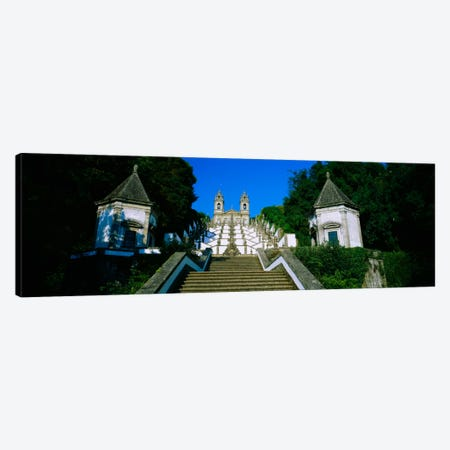 Low angle view of a cathedralSteps of the Five Senses, Bom Jesus Do Monte, Braga, Portugal Canvas Print #PIM935} by Panoramic Images Canvas Print