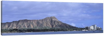 Buildings with mountain range in the background, Diamond Head, Honolulu, Oahu, Hawaii, USA Canvas Print #PIM9366
