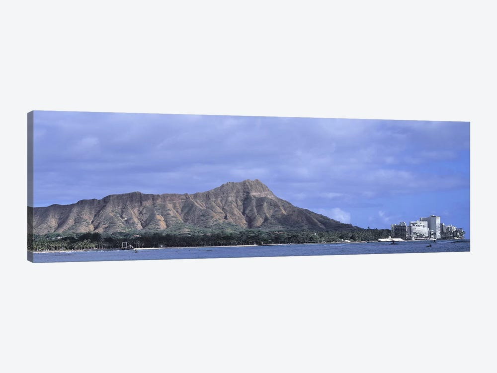 Buildings with mountain range in the background, Diamond Head, Honolulu, Oahu, Hawaii, USA by Panoramic Images 1-piece Canvas Print