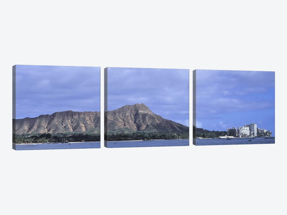 Buildings with mountain range in the background, Diamond Head, Honolulu, Oahu, Hawaii, USA by Panoramic Images 3-piece Canvas Print