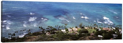 Aerial view of the pacific ocean, Ocean Villas, Honolulu, Oahu, Hawaii, USA Canvas Art Print