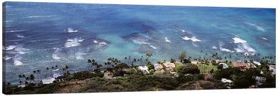 Aerial view of the pacific ocean, Ocean Villas, Honolulu, Oahu, Hawaii, USA Canvas Art Print