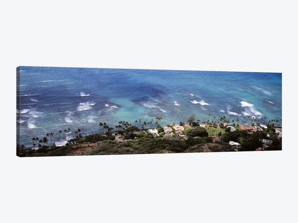 Aerial view of the pacific ocean, Ocean Villas, Honolulu, Oahu, Hawaii, USA by Panoramic Images 1-piece Canvas Artwork