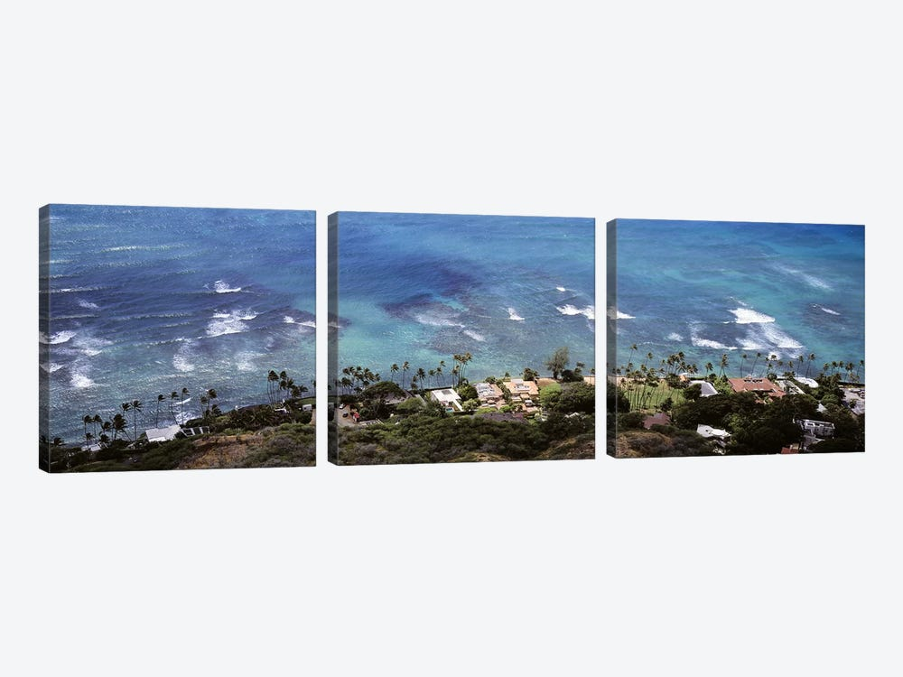 Aerial view of the pacific ocean, Ocean Villas, Honolulu, Oahu, Hawaii, USA by Panoramic Images 3-piece Canvas Art