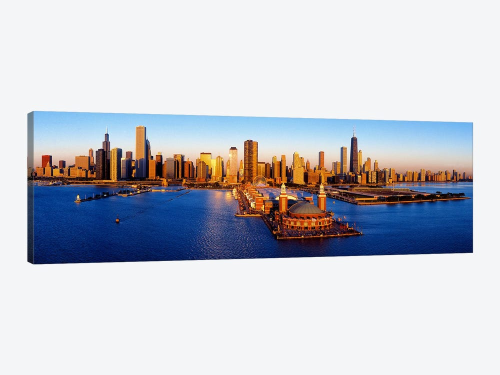 Sunrise at Navy PierLake Michigan, Chicago, Cook County, Illinois, USA by Panoramic Images 1-piece Canvas Art Print