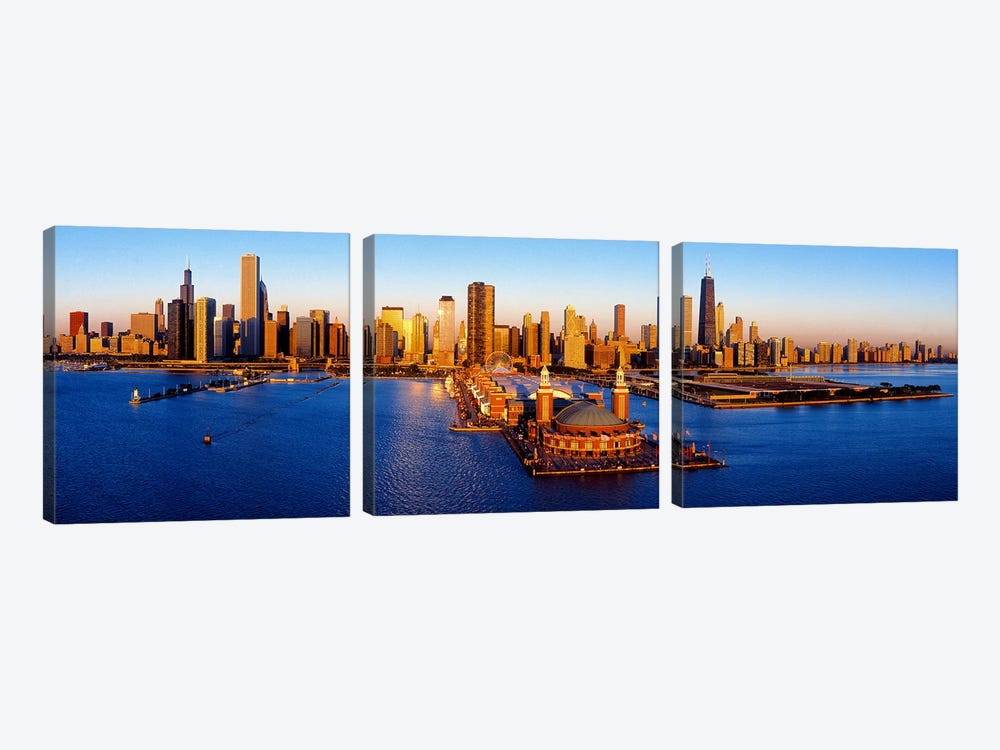 Sunrise at Navy PierLake Michigan, Chicago, Cook County, Illinois, USA by Panoramic Images 3-piece Art Print
