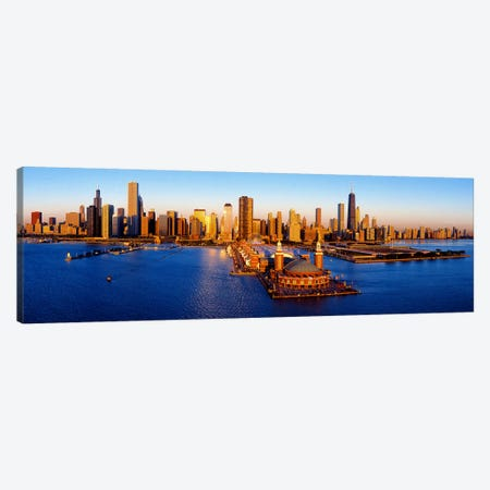 Sunrise at Navy PierLake Michigan, Chicago, Cook County, Illinois, USA Canvas Print #PIM9368} by Panoramic Images Canvas Art Print
