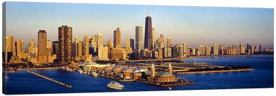 Aerial view of a cityNavy Pier, Lake Michigan, Chicago, Cook County, Illinois, USA Canvas Art Print