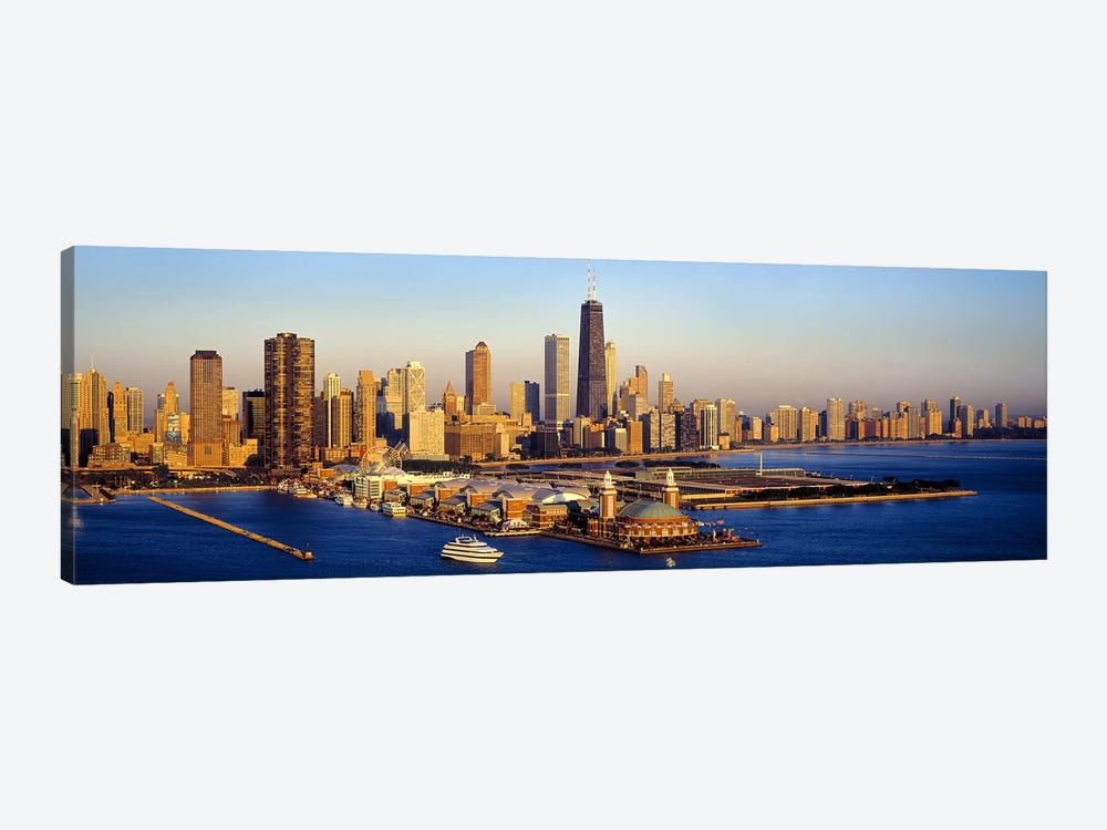 Aerial view of a cityNavy Pier, Lake Michigan, Chicago, Cook County, Illinois, USA by Panoramic Images 1-piece Canvas Art