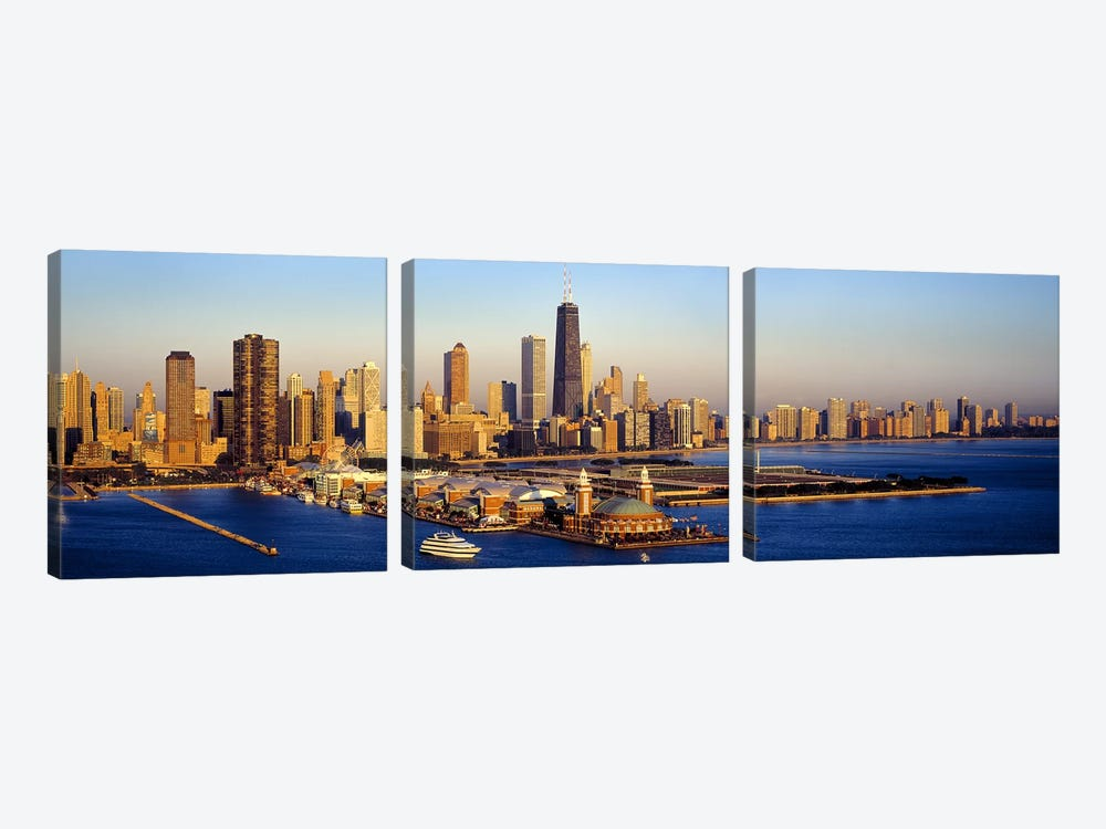 Aerial view of a cityNavy Pier, Lake Michigan, Chicago, Cook County, Illinois, USA by Panoramic Images 3-piece Canvas Art