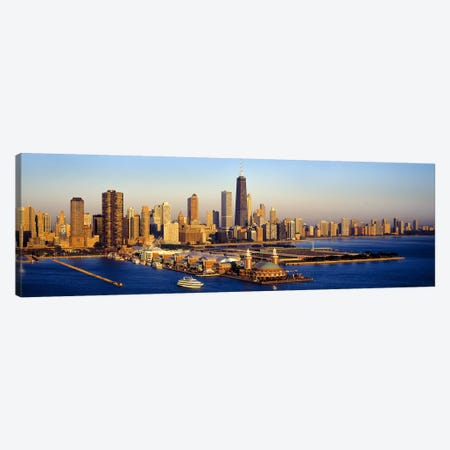 Aerial view of a cityNavy Pier, Lake Michigan, Chicago, Cook County, Illinois, USA Canvas Print #PIM9369} by Panoramic Images Canvas Print