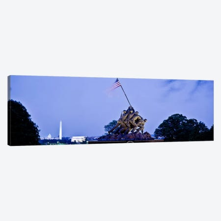 Iwo Jima Memorial at dusk with Washington Monument in the backgroundArlington National Cemetery, Arlington, Virginia, USA Canvas Print #PIM9371} by Panoramic Images Canvas Wall Art