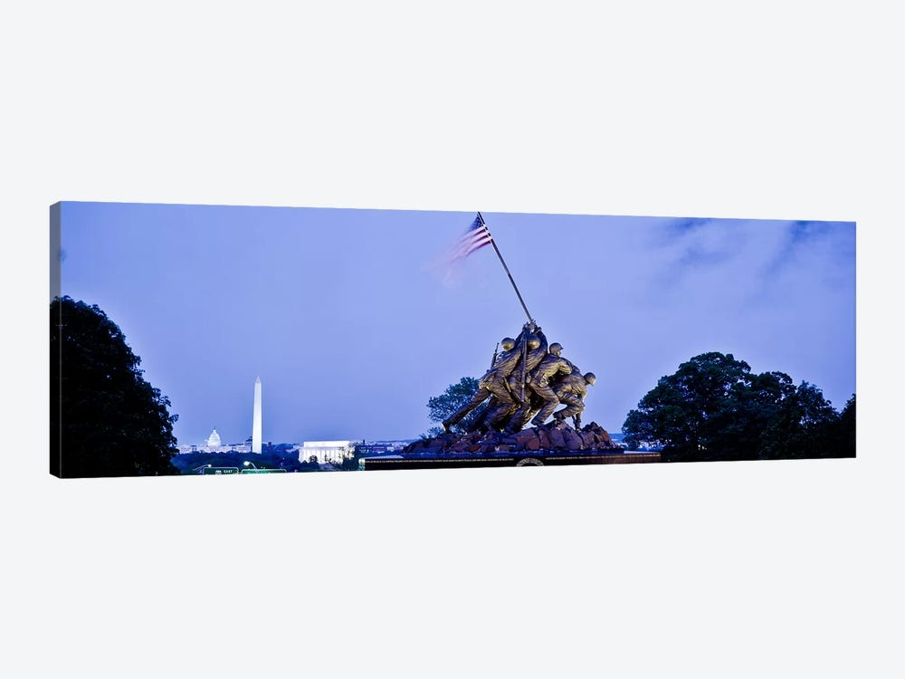 Iwo Jima Memorial at dusk with Washington Monument in the backgroundArlington National Cemetery, Arlington, Virginia, USA by Panoramic Images 1-piece Art Print