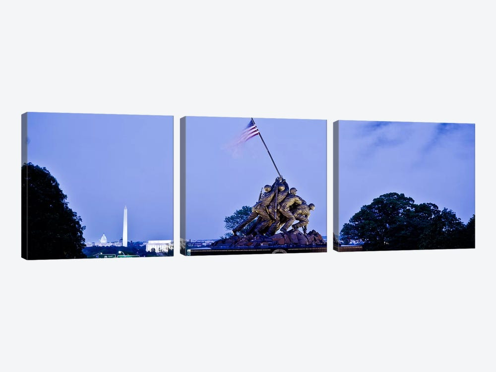 Iwo Jima Memorial at dusk with Washington Monument in the backgroundArlington National Cemetery, Arlington, Virginia, USA 3-piece Canvas Art Print