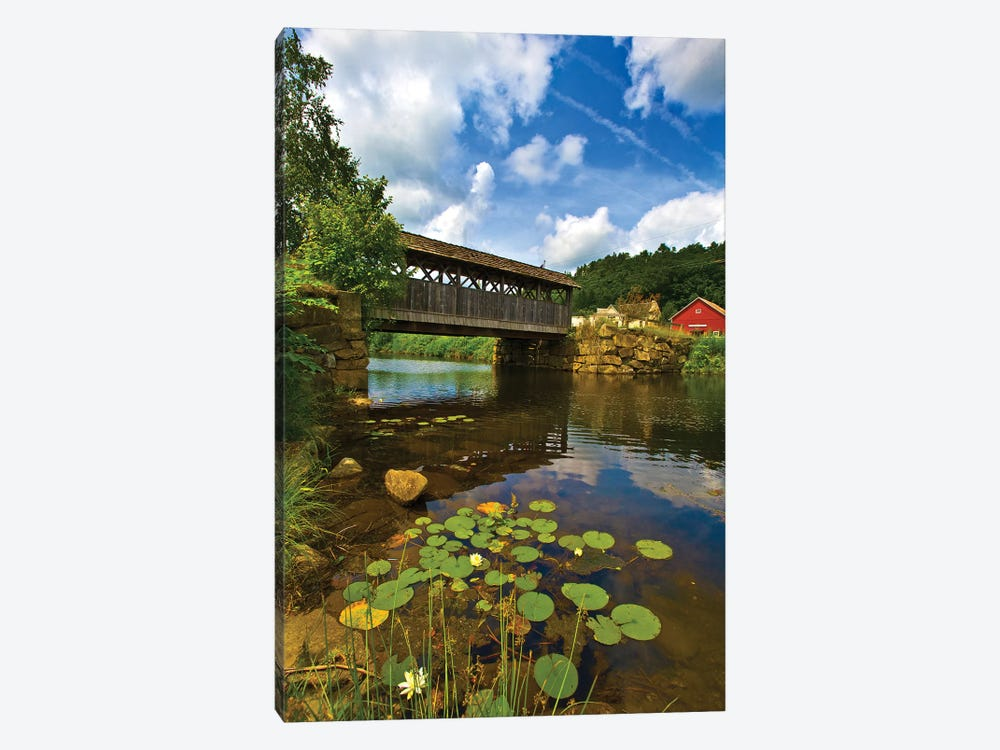 Covered Pedestrian Bridge Over Joes Brook, West Danville, Vermont, USA by Panoramic Images 1-piece Canvas Print