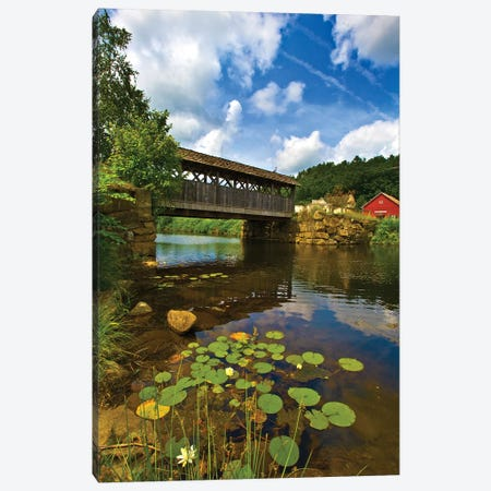 Covered Pedestrian Bridge Over Joes Brook, West Danville, Vermont, USA Canvas Print #PIM9375} by Panoramic Images Canvas Print