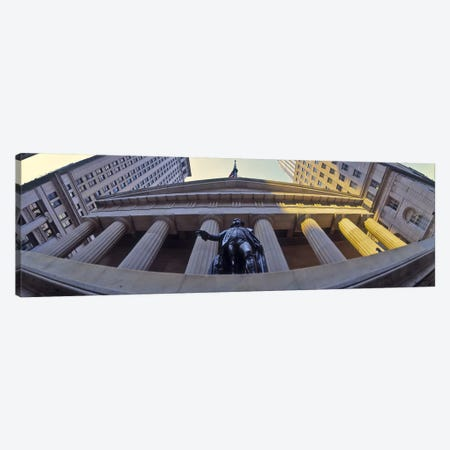 Low angle view of a stock exchange building, New York Stock Exchange, Wall Street, Manhattan, New York City, New York State, USA Canvas Print #PIM9376} by Panoramic Images Art Print