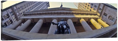 Low angle view of a stock exchange building, New York Stock Exchange, Wall Street, Manhattan, New York City, New York State, USA Canvas Art Print