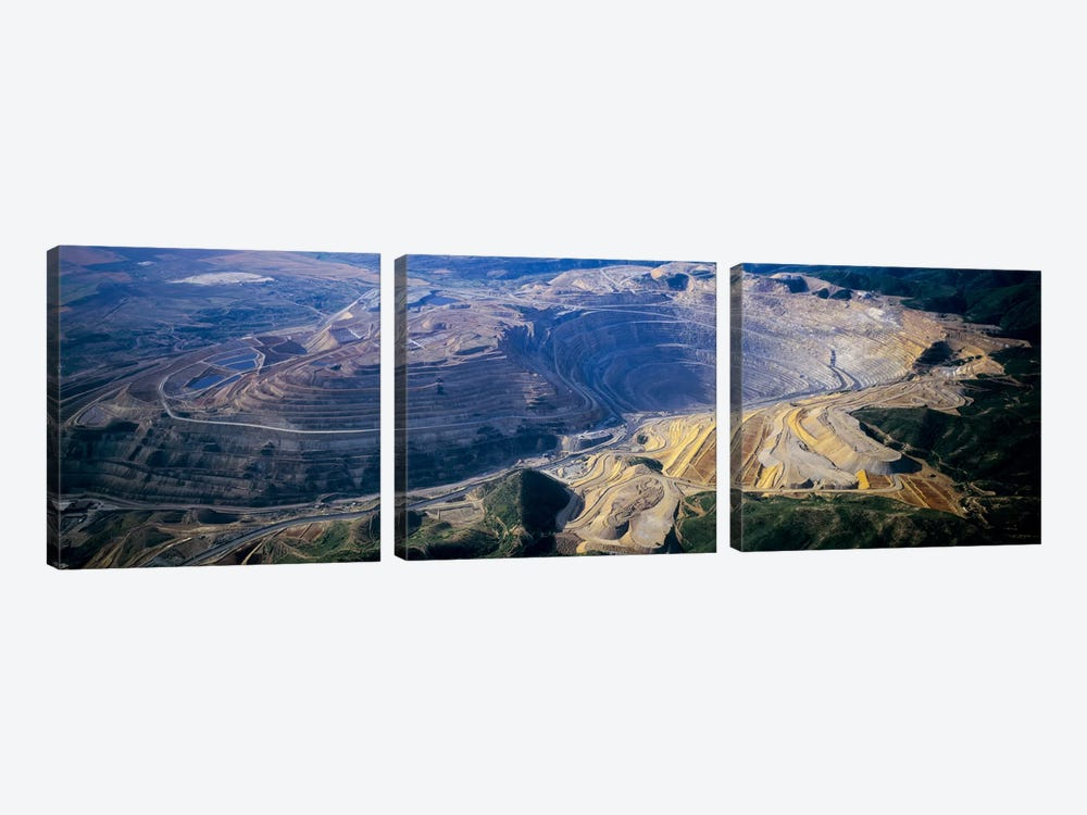 Aerial View Of A Copper Mine, Utah, USA by Panoramic Images 3-piece Canvas Wall Art