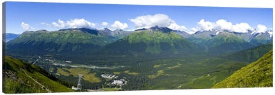 Aerial view of a ski resortAlyeska Resort, Girdwood, Chugach Mountains, Anchorage, Alaska, USA Canvas Art Print