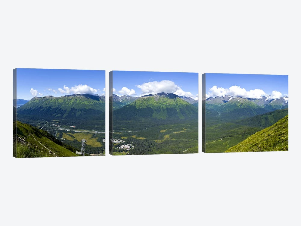 Aerial view of a ski resortAlyeska Resort, Girdwood, Chugach Mountains, Anchorage, Alaska, USA by Panoramic Images 3-piece Art Print