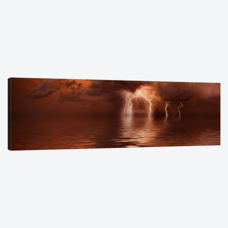 Lightning storm over the sea Canvas Print #PIM9386} by Panoramic Images Canvas Art