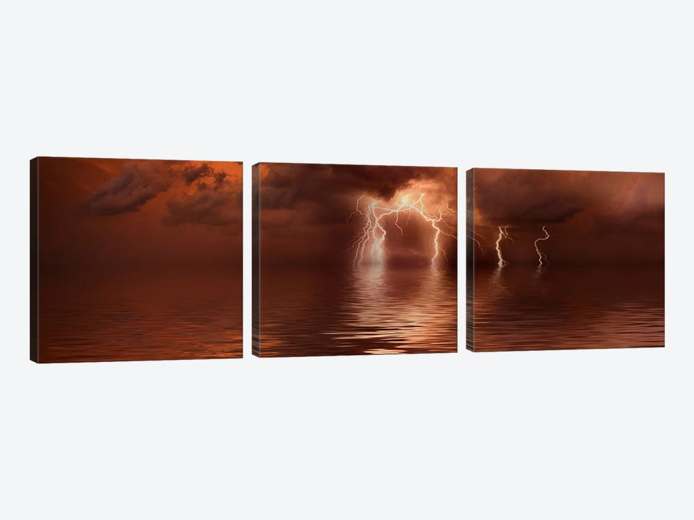 Lightning storm over the sea by Panoramic Images 3-piece Art Print