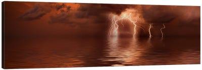 Lightning storm over the sea Canvas Art Print