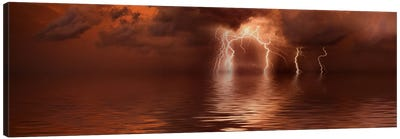Lightning storm over the sea Canvas Art Print