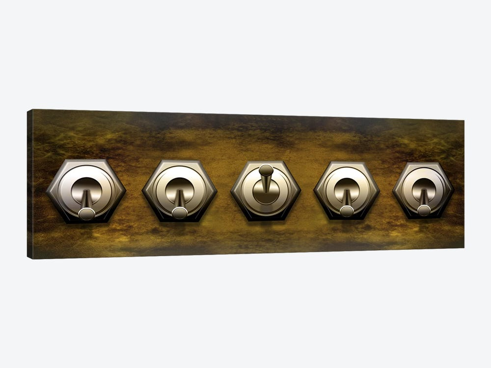 Close-up of five switches by Panoramic Images 1-piece Canvas Art