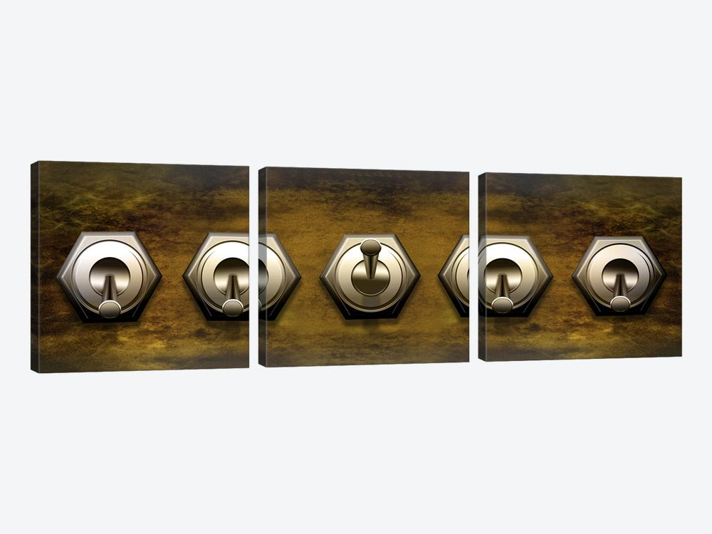 Close-up of five switches by Panoramic Images 3-piece Canvas Artwork