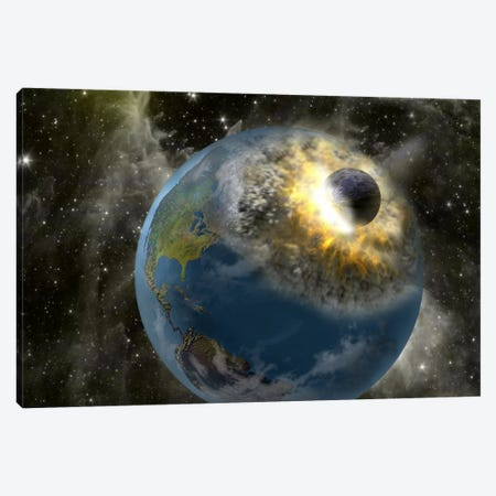 Earth being hit by a planet killing meteorite Canvas Print #PIM9389} by Panoramic Images Canvas Print