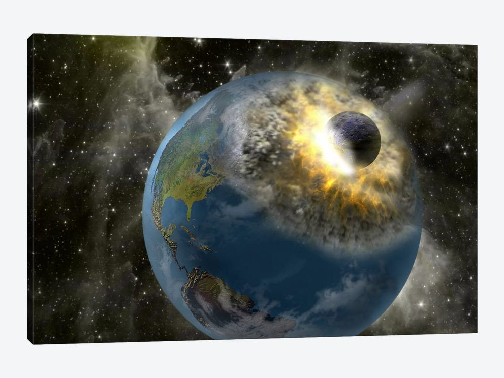 Earth being hit by a planet killing meteorite by Panoramic Images 1-piece Canvas Wall Art