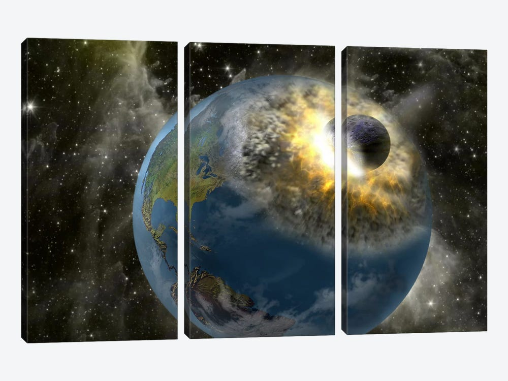 Earth being hit by a planet killing meteorite by Panoramic Images 3-piece Canvas Art