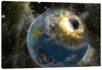 Earth being hit by a planet killing meteorite Canvas Art Print