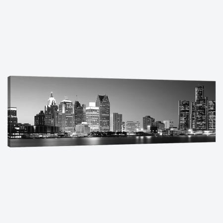 City at the waterfront, Lake Erie, Detroit, Wayne County, Michigan, USA Canvas Print #PIM9391} by Panoramic Images Canvas Artwork