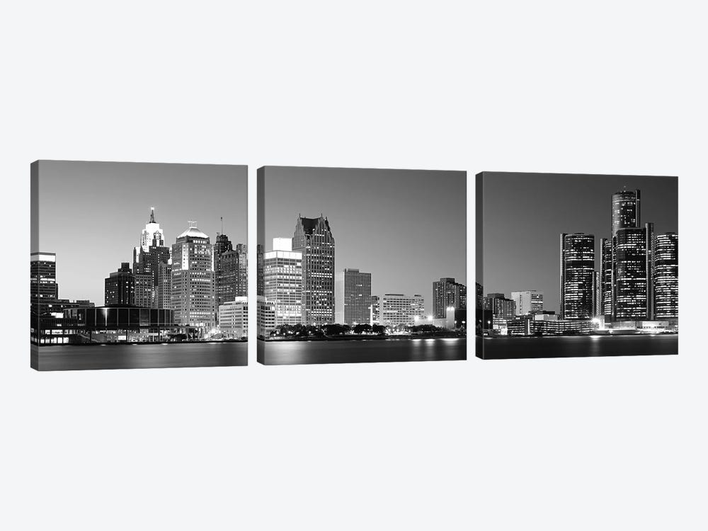 City at the waterfront, Lake Erie, Detroit, Wayne County, Michigan, USA by Panoramic Images 3-piece Canvas Print