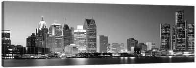 City at the waterfront, Lake Erie, Detroit, Wayne County, Michigan, USA Canvas Art Print