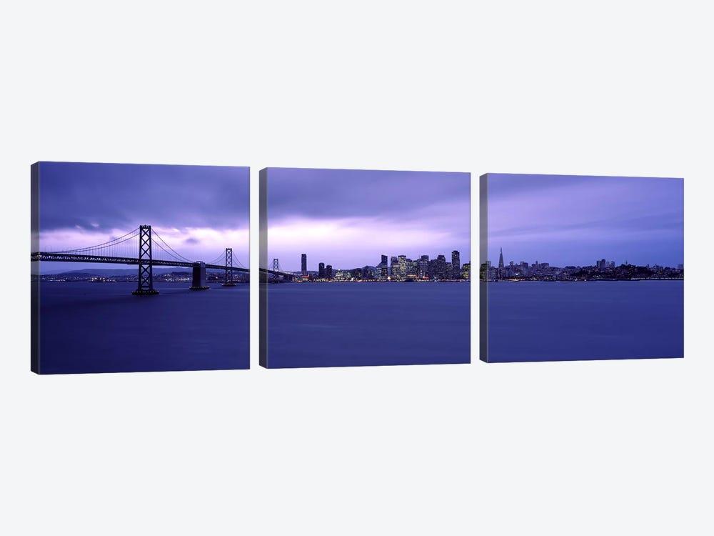 Suspension bridge across a bayBay Bridge, San Francisco Bay, San Francisco, California, USA by Panoramic Images 3-piece Canvas Art Print