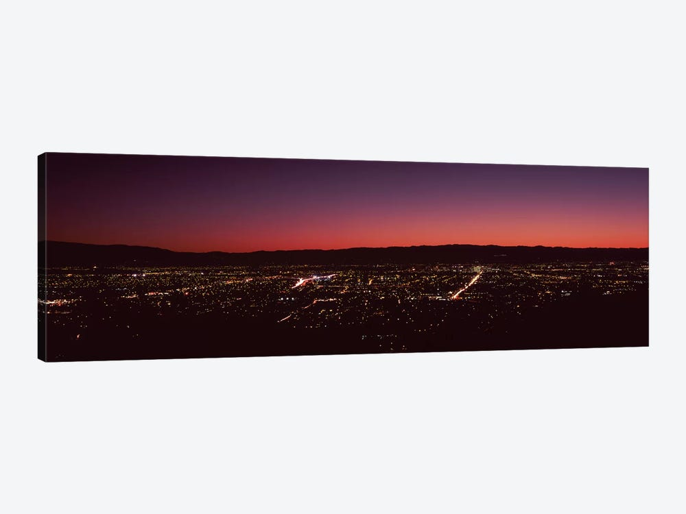 City lit up at dusk, Silicon Valley, San Jose, Santa Clara County, San Francisco Bay, California, USA by Panoramic Images 1-piece Canvas Wall Art