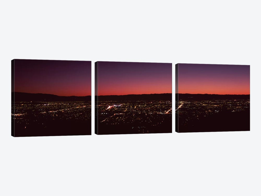 City lit up at dusk, Silicon Valley, San Jose, Santa Clara County, San Francisco Bay, California, USA by Panoramic Images 3-piece Canvas Wall Art