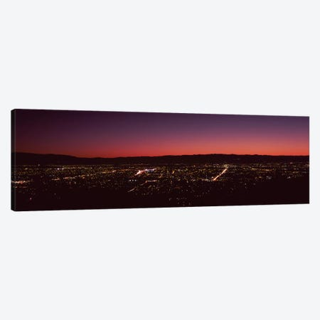 City lit up at dusk, Silicon Valley, San Jose, Santa Clara County, San Francisco Bay, California, USA Canvas Print #PIM9394} by Panoramic Images Art Print