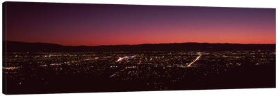 City lit up at dusk, Silicon Valley, San Jose, Santa Clara County, San Francisco Bay, California, USA Canvas Art Print