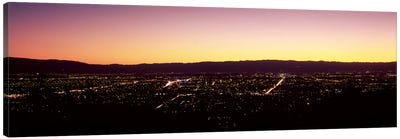 City lit up at dusk, Silicon Valley, San Jose, Santa Clara County, San Francisco Bay, California, USA #2 Canvas Art Print